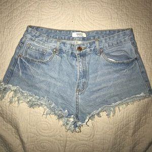 Fringe high waisted shorts